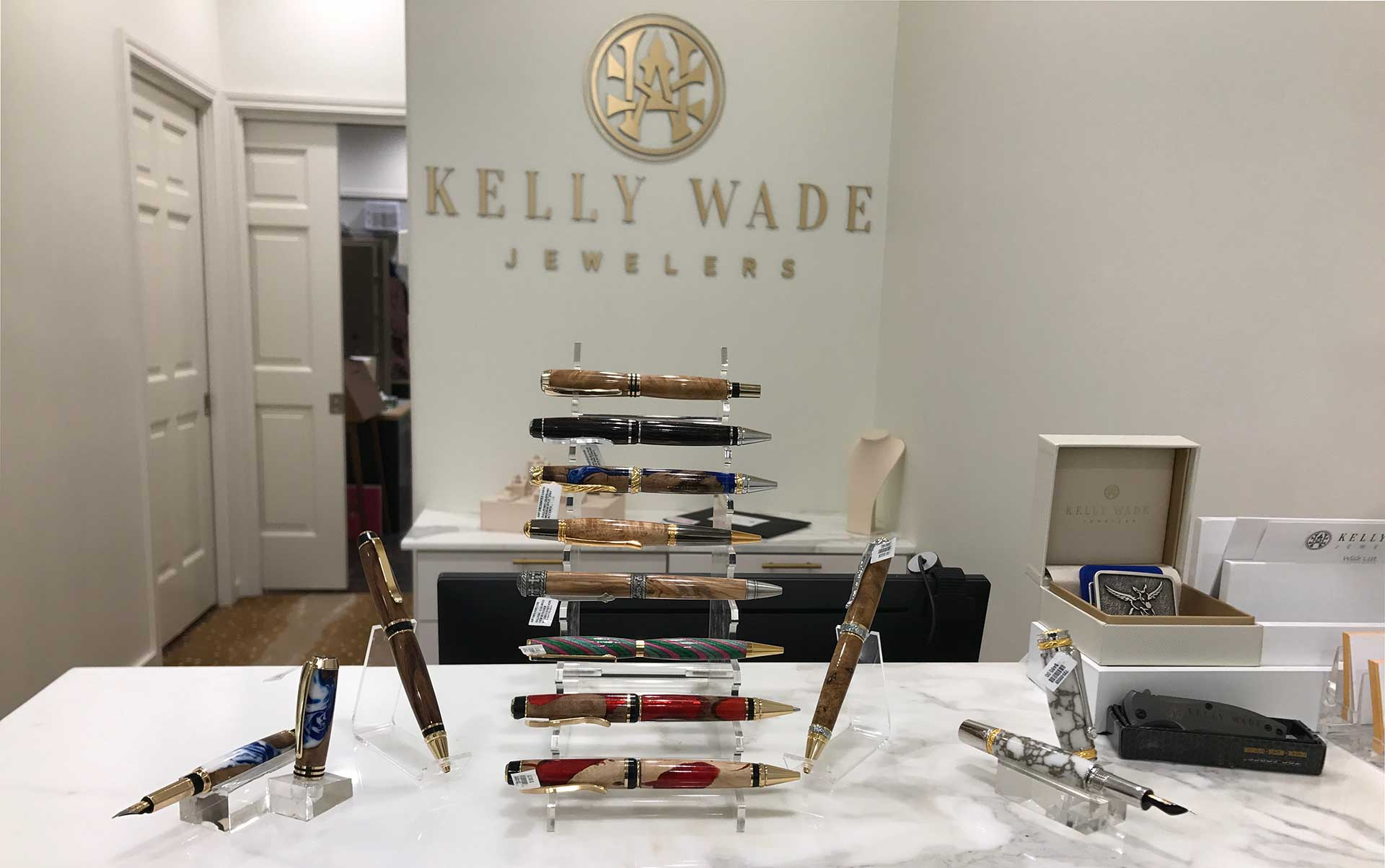 Kelly Wade Jeweler display of Andrew's Artisan Pens